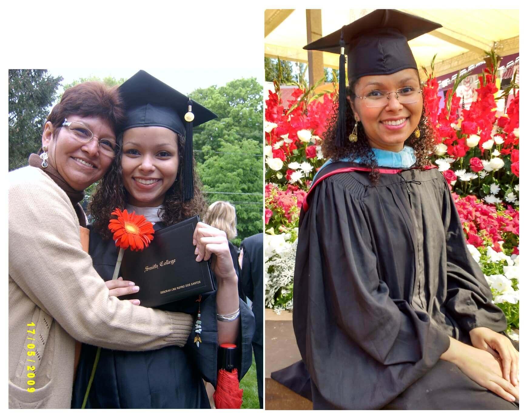 Deborah e sua mãe na formatura do Smith College
